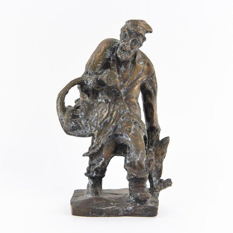 Bronze Judaica Expressionist Sculpture Russian Jewish Shtetl Goose Peddler - Gold Figurative Sculpture by Issachar Ryback