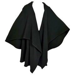 Issey Miyake 1970s Black Wool Cape Collar Coat