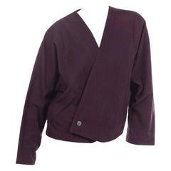 Issey Miyake 1980s Vintage Jacket in Purple Cotton Kimono Style Japan