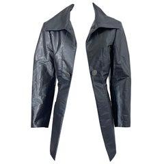 Issey Miyake 1990s Sharkskin Gray Metallic Vintage 90s Trench Jacket