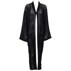 Issey Miyake 1990s vintage woven black long coat