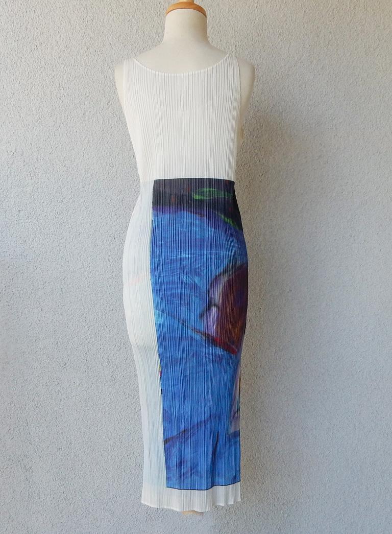 Blue Issey Miyake 1997 Pleats Please Guest Artist Series No. 2 Nobuyoshi Araki Dress For Sale