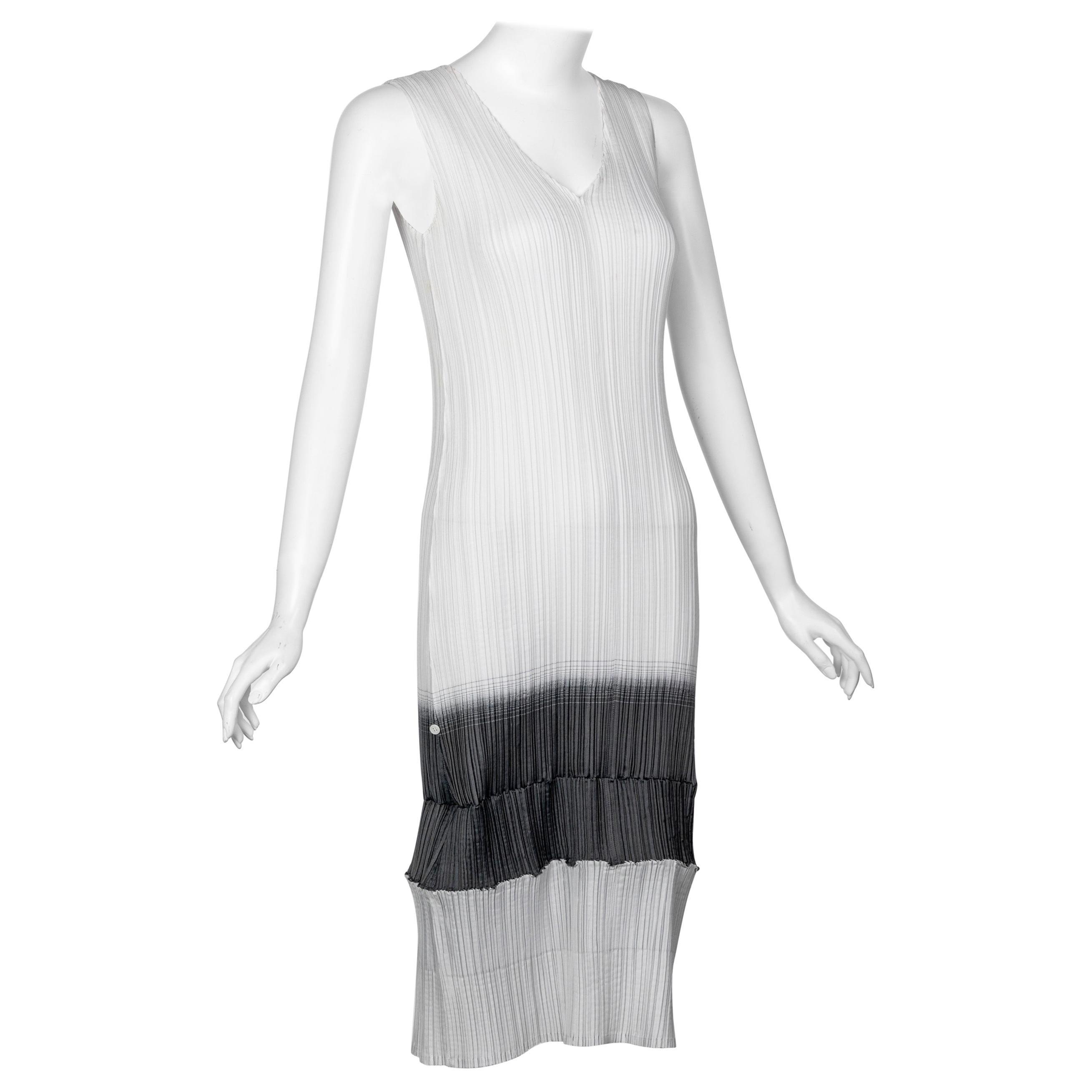 "Issey Miyake ""A Piece of Cloth"" 2-Way White Gray Sleeveless Sculptural Dress"