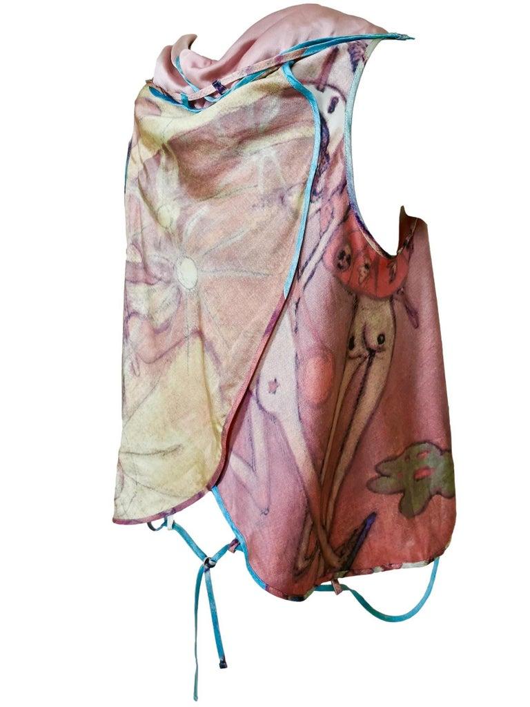 Issey Miyake Aya Takano Limited Edition 2004 Silkscreen Printed Circular Vest For Sale 5