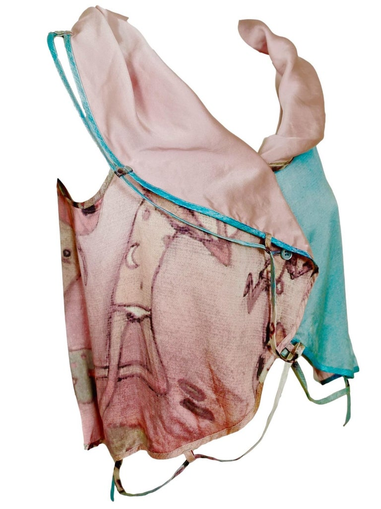 Issey Miyake Aya Takano Limited Edition 2004 Silkscreen Printed Circular Vest For Sale 9