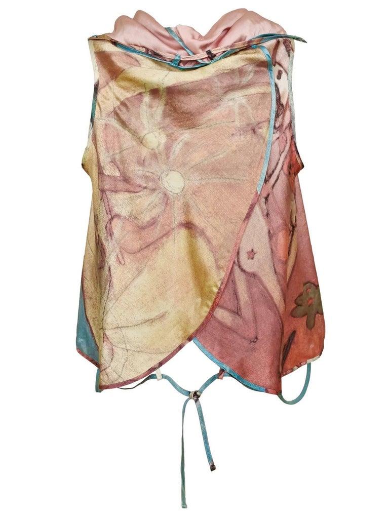 Gray Issey Miyake Aya Takano Limited Edition 2004 Silkscreen Printed Circular Vest For Sale
