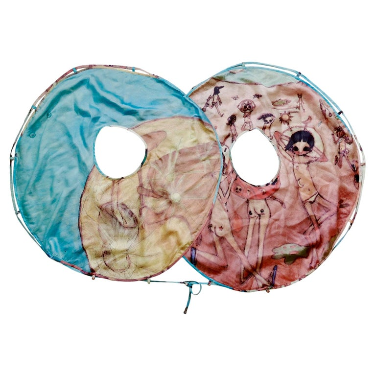 Issey Miyake Aya Takano Limited Edition 2004 Silkscreen Printed Circular Vest For Sale