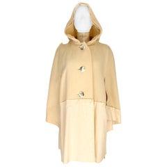 Issey Miyake Beige Wool Nylon Hood Cape Coat Batwing 1990s Dressmaker Needles