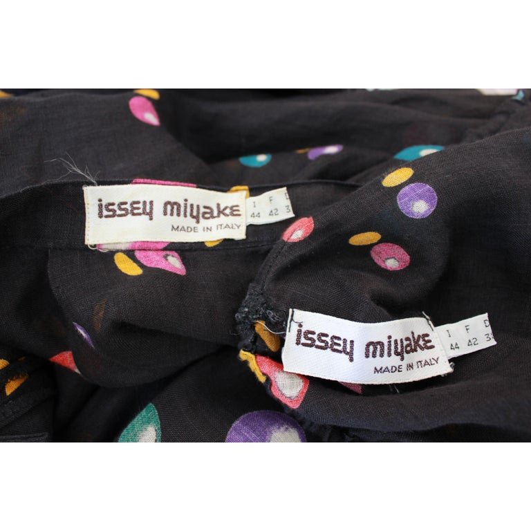 Issey Miyake Black Linen Polka Dot Two Piece Skirt Blouse Dress Twin Set 1980s For Sale 3