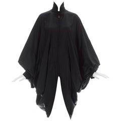 Issey Miyake black nylon oversized parachute coat, ca. 1987