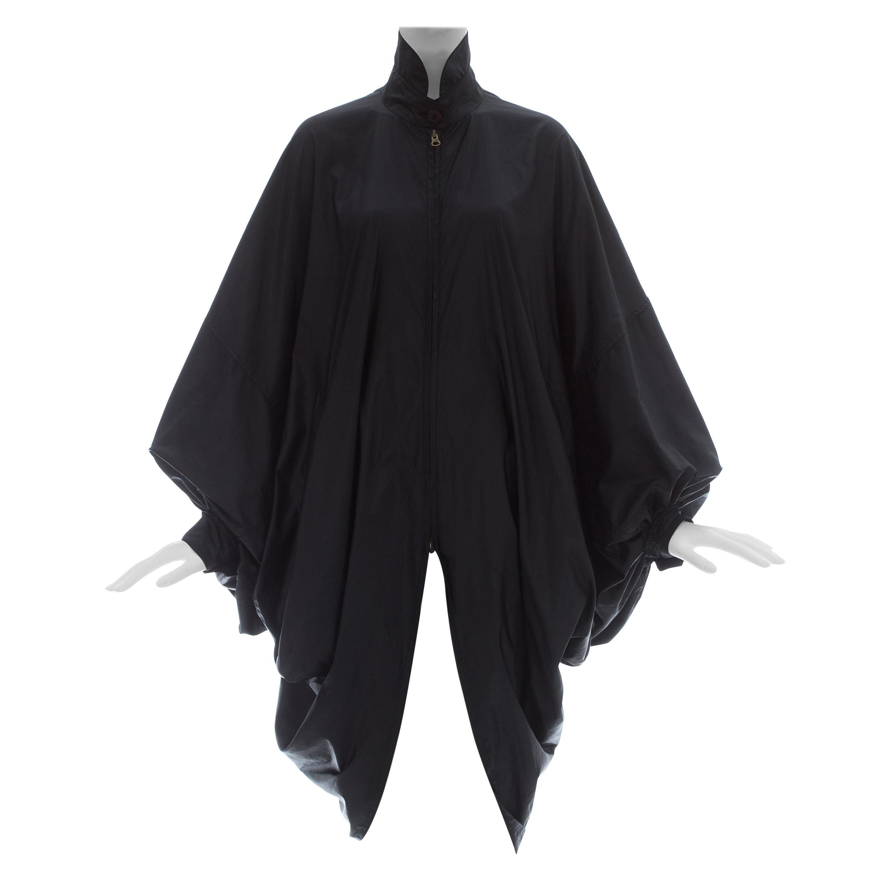 Issey Miyake black nylon oversized parachute coat, fw 1987