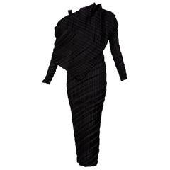 Issey Miyake Black Pleated Sculptural Dress, 1990s