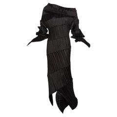 Issey Miyake Black Pleated Spiral Dress, 1990s