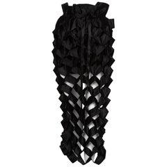 Issey Miyake Black Satin Ribbon Cage Maxi Skirt, 1980s