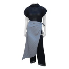 Issey Miyake Black & Silver 3 Piece Pants, Top, Scarf Ensemble