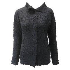 Issey Miyake Black Textured Crinkled Blouse