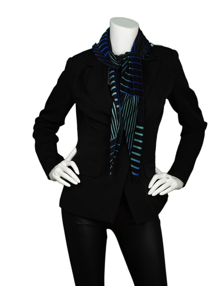 Issey Miyake Blue/Black Pleated Patterned Scarf W/ Button In Excellent Condition For Sale In New York, NY