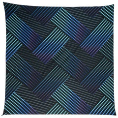 Issey Miyake Blue/Black Pleated Patterned Scarf W/ Button