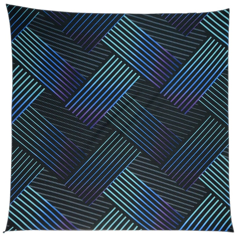 Issey Miyake Blue/Black Pleated Patterned Scarf W/ Button For Sale