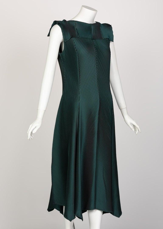 Black Issey Miyake Blue Green Pleated Sleeveless Dress For Sale