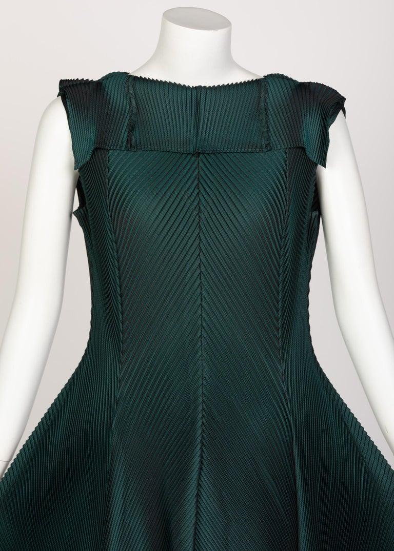 Women's Issey Miyake Blue Green Pleated Sleeveless Dress For Sale