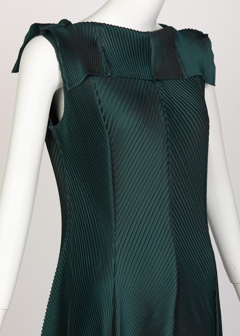 Issey Miyake Blue Green Pleated Sleeveless Dress For Sale 1