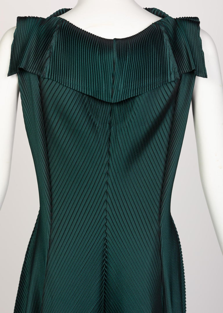 Issey Miyake Blue Green Pleated Sleeveless Dress For Sale 2