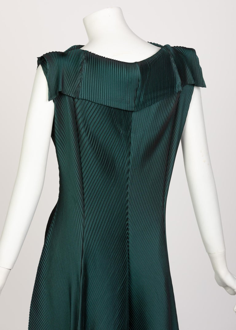 Issey Miyake Blue Green Pleated Sleeveless Dress For Sale 3