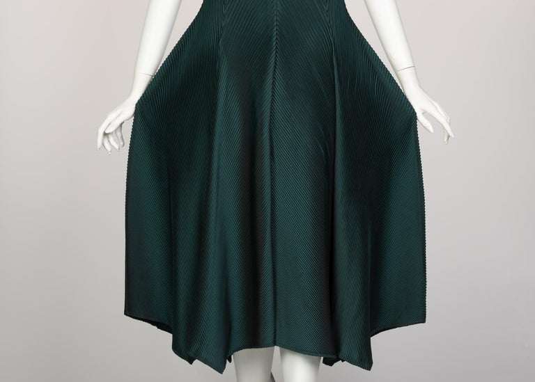 Issey Miyake Blue Green Pleated Sleeveless Dress For Sale 4