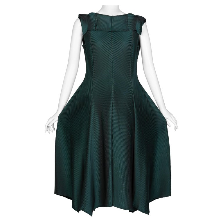 Issey Miyake Blue Green Pleated Sleeveless Dress For Sale