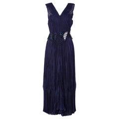 Issey Miyake Blue Pleated Maxi Dress w/ Lucite Belt
