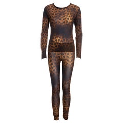 Issey Miyake brown acid wash nylon mesh leggings and top set, fw 2006