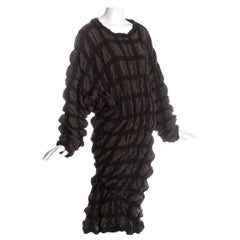 Issey Miyake brown checked wool sweater dress with elastic binding, fw 1985