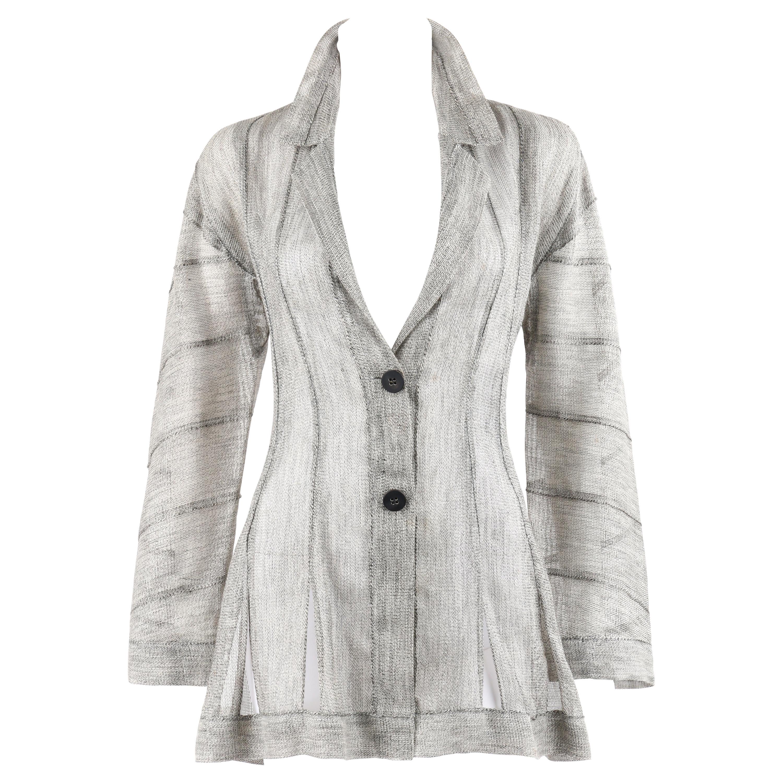 ISSEY MIYAKE c.1990 Heathered Gray Linen Flared Cutout Hem Sheer Knit Blazer Top