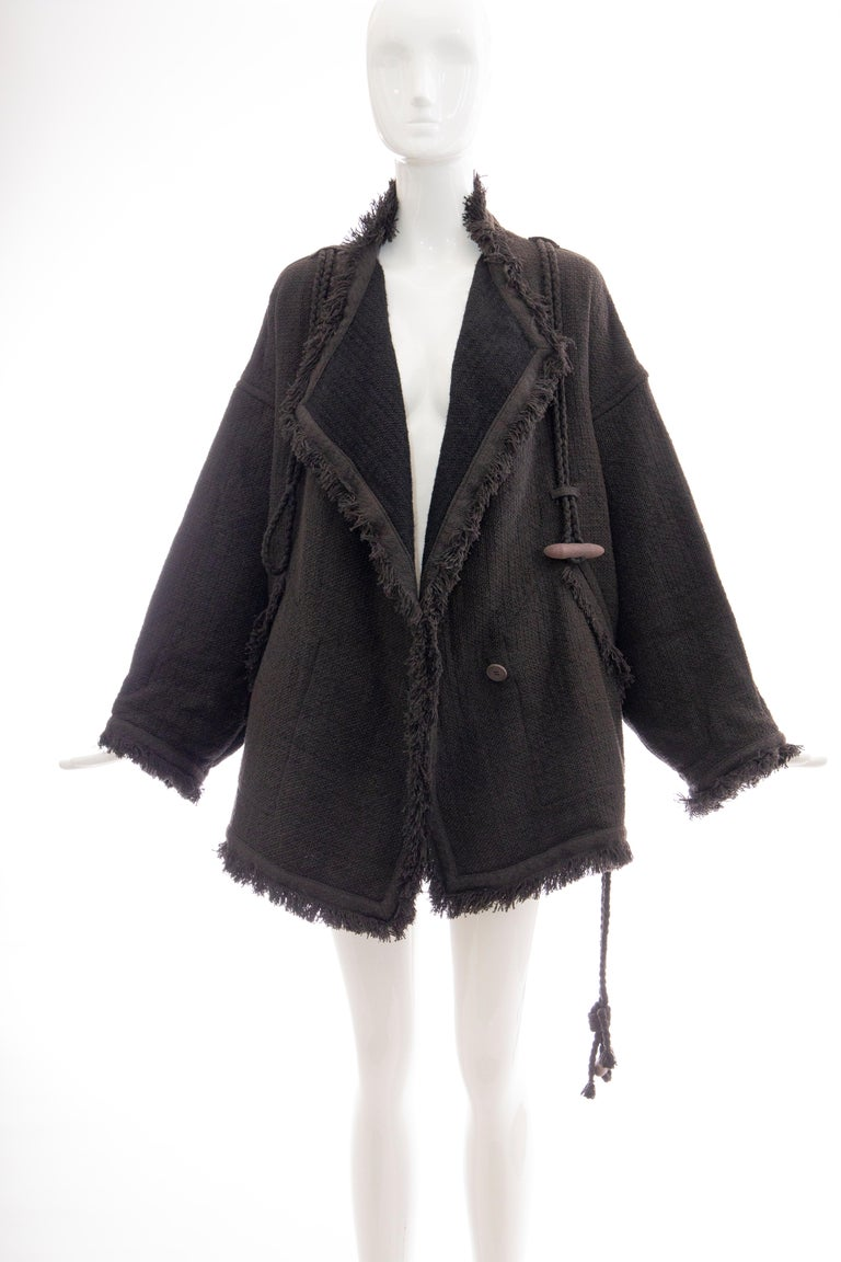 Issey Miyake Charcoal Grey Fringed Cotton Wool Woven Jacket, Fall 1984 For Sale 5