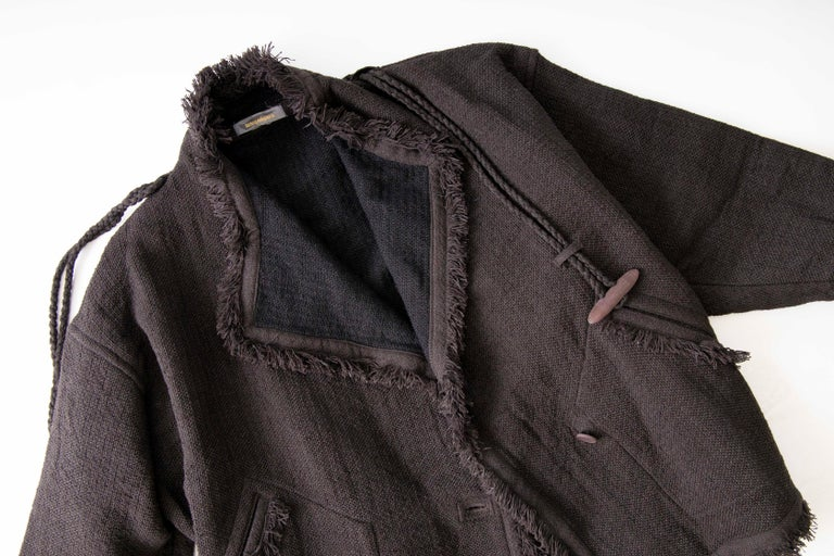 Issey Miyake Charcoal Grey Fringed Cotton Wool Woven Jacket, Fall 1984 For Sale 6