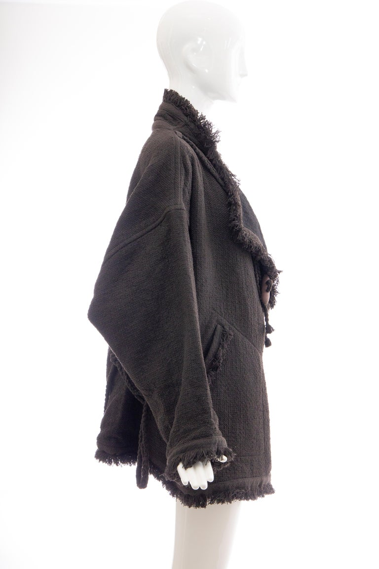 Black Issey Miyake Charcoal Grey Fringed Cotton Wool Woven Jacket, Fall 1984 For Sale