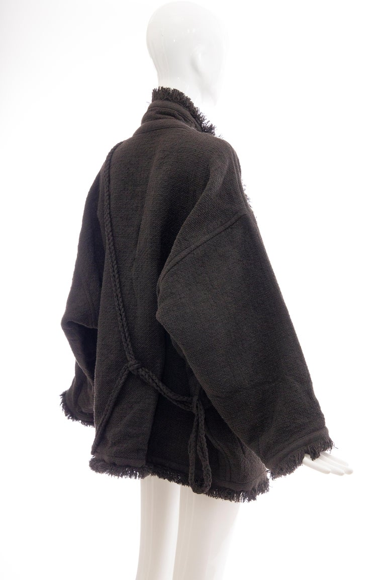 Issey Miyake Charcoal Grey Fringed Cotton Wool Woven Jacket, Fall 1984 In Excellent Condition For Sale In Cincinnati, OH