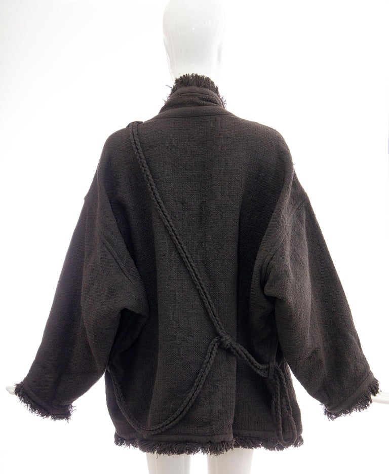 Women's Issey Miyake Charcoal Grey Fringed Cotton Wool Woven Jacket, Fall 1984 For Sale