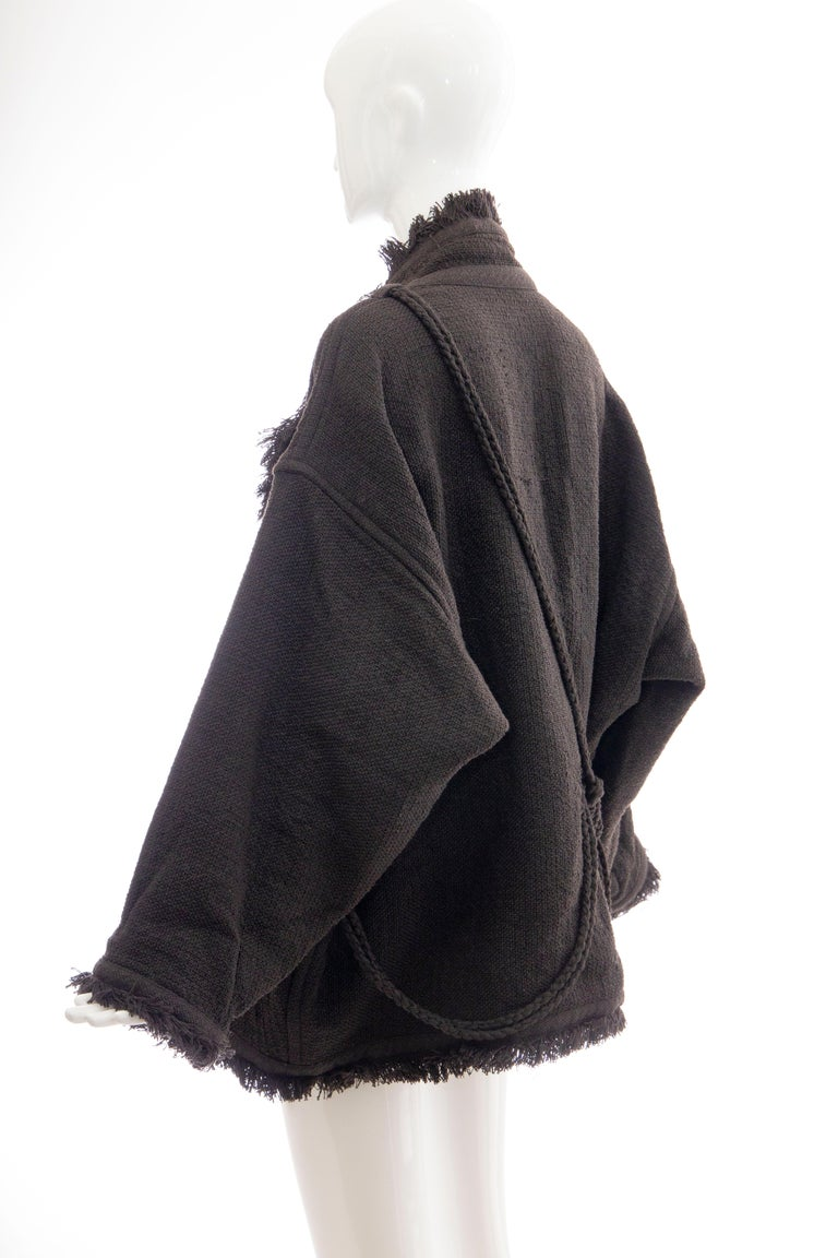 Issey Miyake Charcoal Grey Fringed Cotton Wool Woven Jacket, Fall 1984 For Sale 1