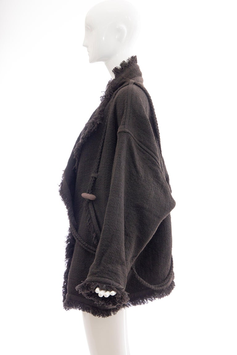 Issey Miyake Charcoal Grey Fringed Cotton Wool Woven Jacket, Fall 1984 For Sale 2