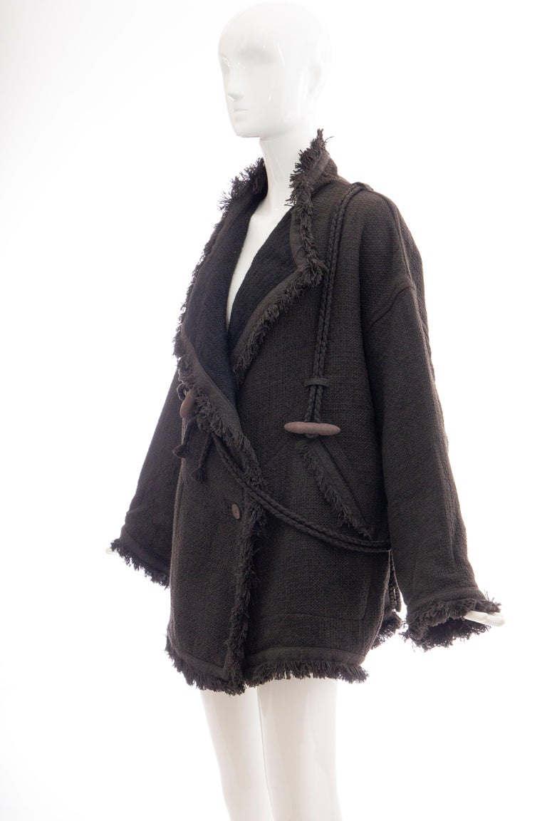 Issey Miyake Charcoal Grey Fringed Cotton Wool Woven Jacket, Fall 1984 For Sale 3