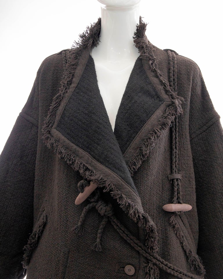 Issey Miyake Charcoal Grey Fringed Cotton Wool Woven Jacket, Fall 1984 For Sale 4
