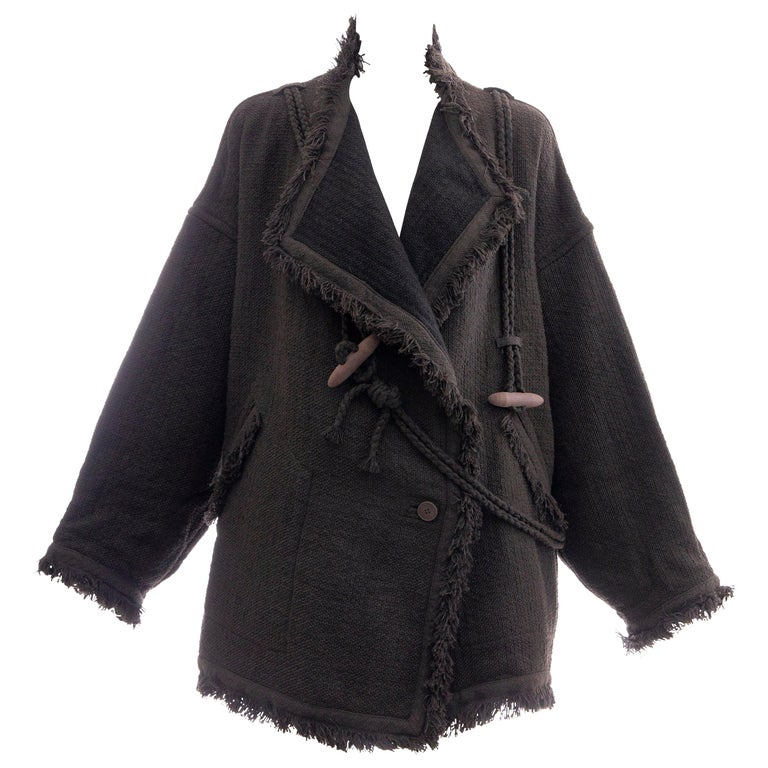 Issey Miyake Charcoal Grey Fringed Cotton Wool Woven Jacket, Fall 1984 For Sale
