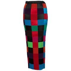 Issey Miyake Colorblock Woven Ribbon Skirt, 1990s