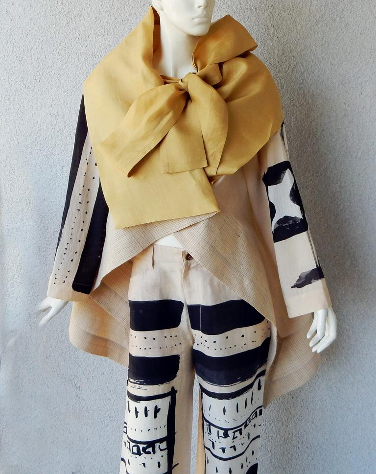 Beige Issey Miyake Costume Institute Rare 1997 Graphic Runway Kimono Inspired Ensemble For Sale