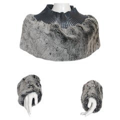 Issey Miyake Faux Fur Pleats Please Cowl and Wrist Cuff Accessories