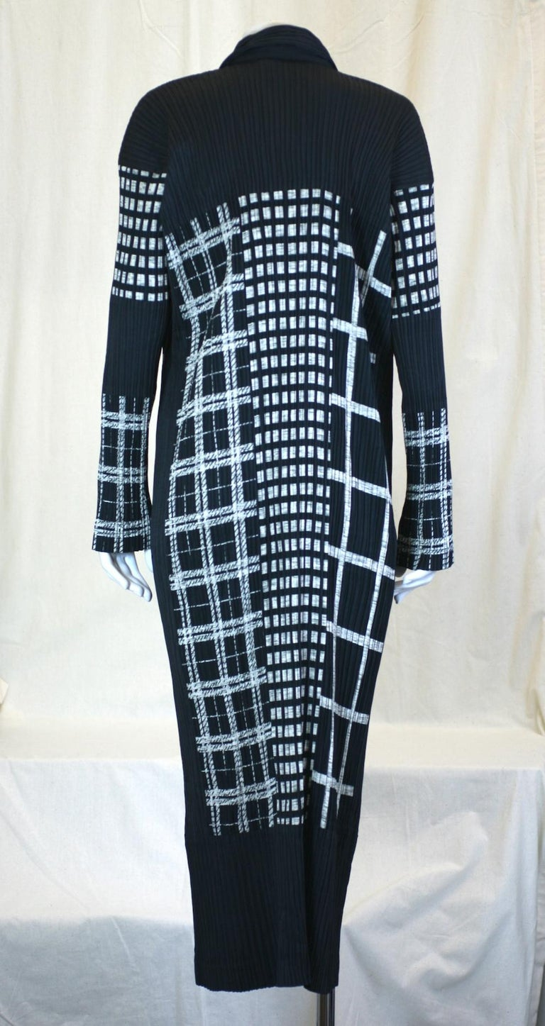 Women's or Men's Issey Miyake Graphic Black White Pleated Dress For Sale