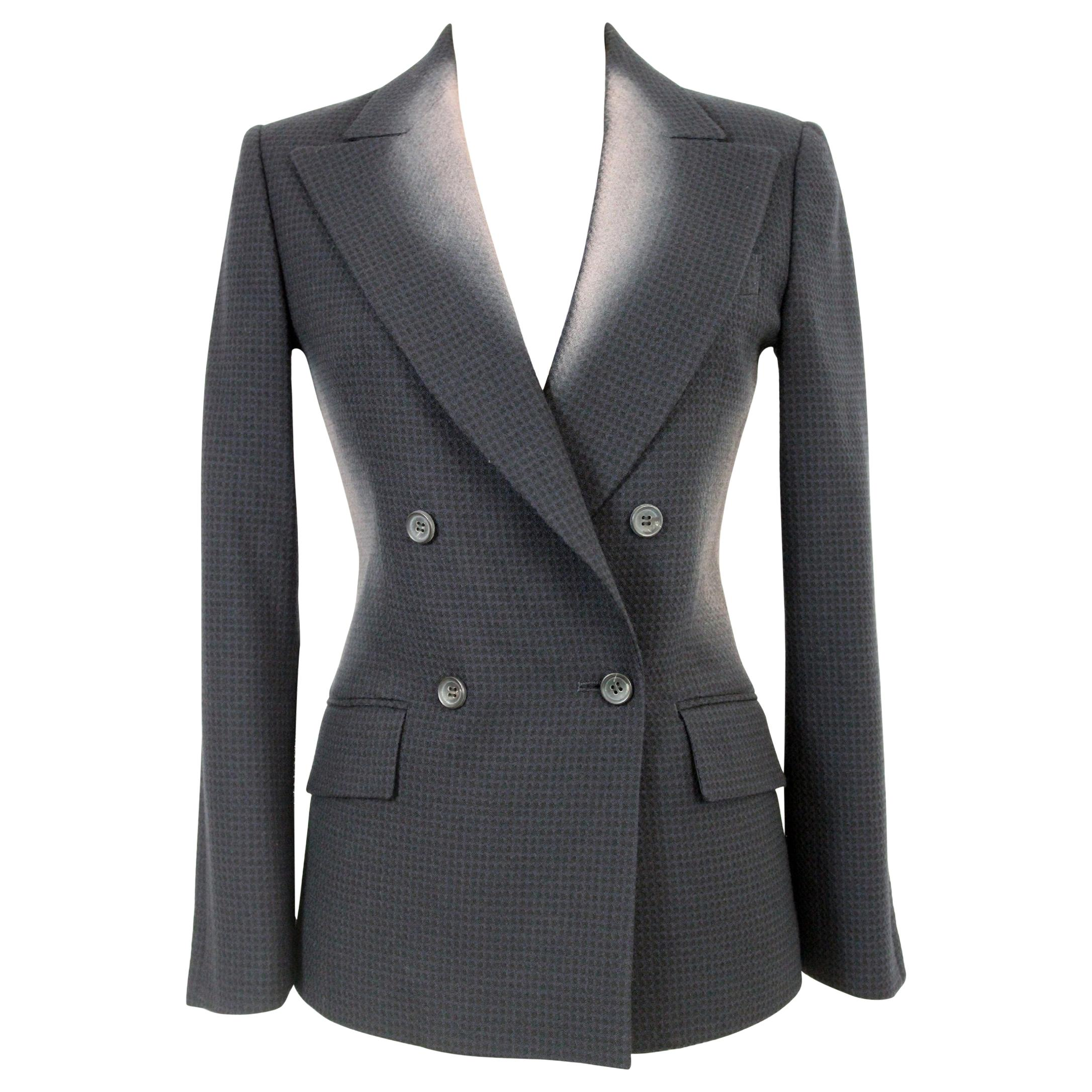 Issey Miyake Gray Wool Flared Double Breasted Transparent Jacket 2000s