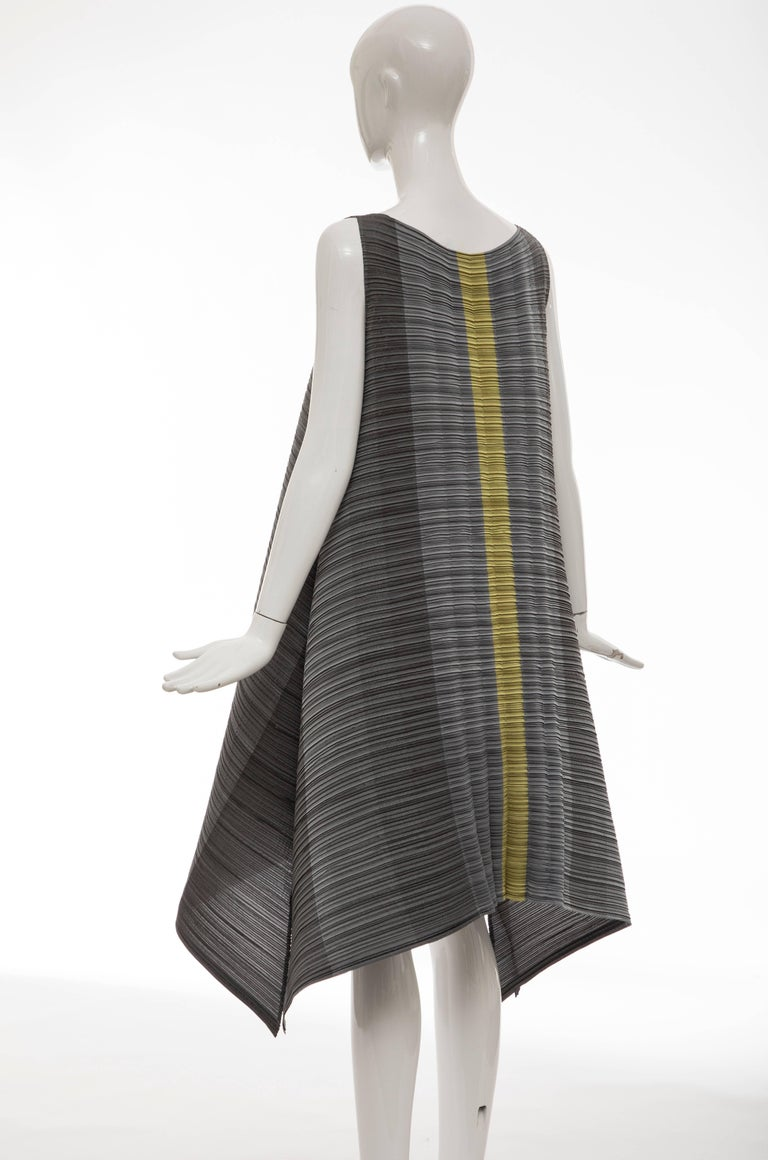 e892fa0f1c0 Issey Miyake Grey Chartreuse Sleeveless Pleated Dress For Sale 2